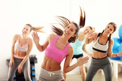 Group of women working out and having fun