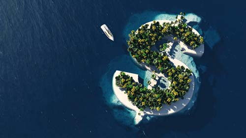 Top view of an island shaped like a dollar sign