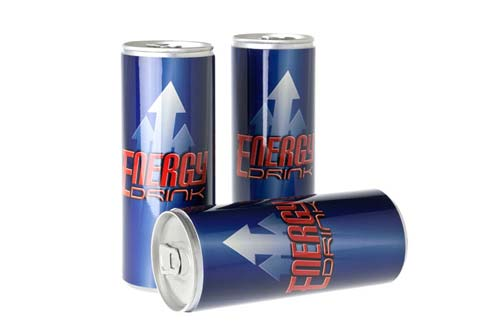 3 generic energy drink cans