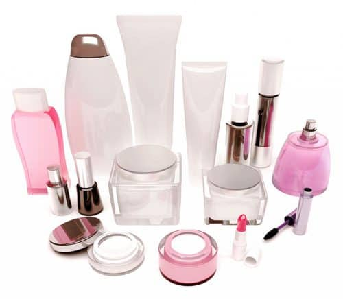 All varieties of pink beauty and cosmetics bottles and packaging