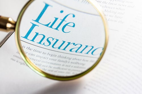 Close look at an insurance policy with a magnifying glass