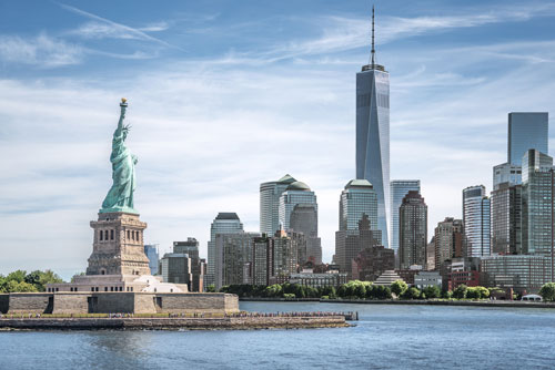 Picture of New York city including the statue of liberty