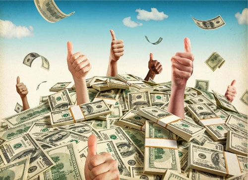 A bunch of thumbs up coming out of a pile of money