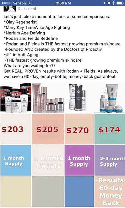 Rodan and Fields product comparisons