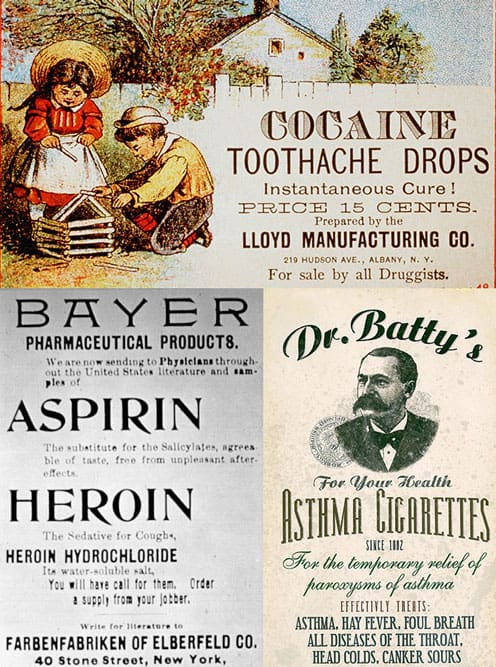 old cocaine, heroin, and cigarettes ads