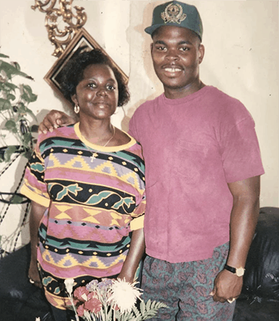 Holton Buggs and his mother