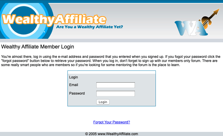 early Wealthy Affiliate website