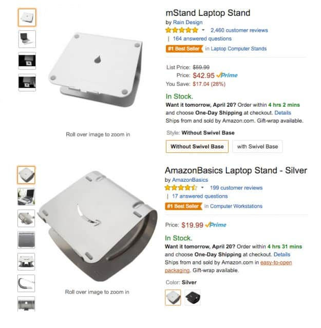 Amazon basics laptop stand