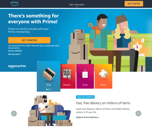 amazon prime landing page