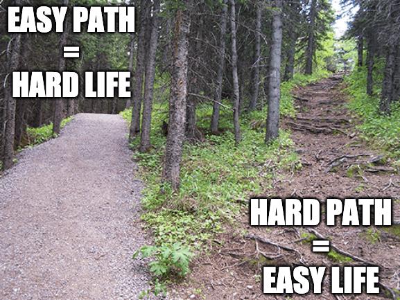 easy path - hard path
