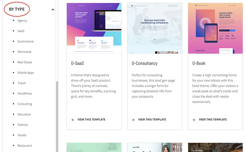 industry specific landing page templates