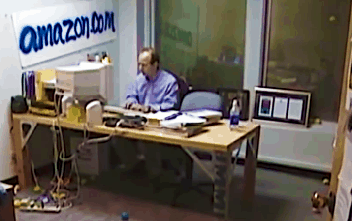 Jeff Bezos in office circa 1999