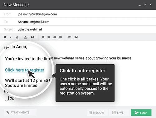 WebinarJam one click registration